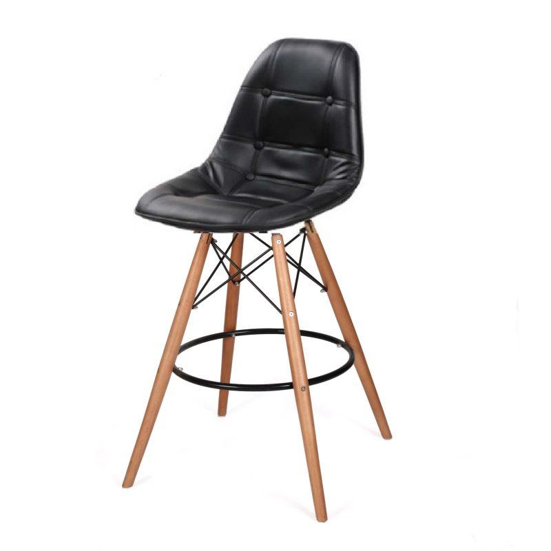 כסא בר עור שחור